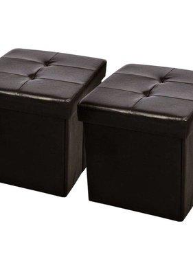 vidaXL Hocker opvouwbaar 45 x 45 cm bruin (set van 2)