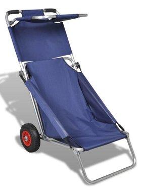 vidaXL Draagbare 3-in-1 strandstoel met zonnedak/beach trolley/strandtafel
