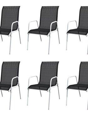 vidaXL Tuinstoelen stapelbaar 6 st staal en textileen zwart