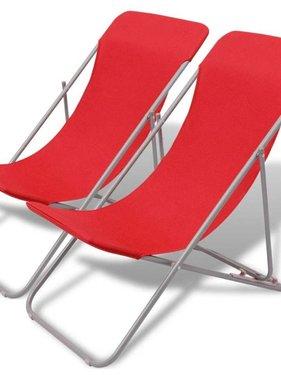 vidaXL Strandstoelen inklapbaar 2 st gepoedercoat staal rood