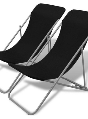 vidaXL Strandstoelen inklapbaar 2 st gepoedercoat staal zwart