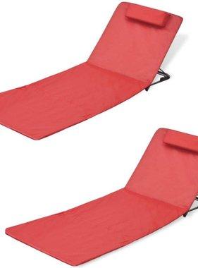 vidaXL Strandmat met rugsteun inklapbaar rood 2 st