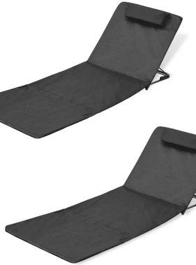 vidaXL Strandmat inklapbaar met rugsteun zwart 2 st