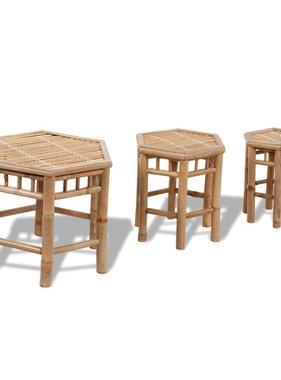vidaXL Bamboe stoelen set van 3