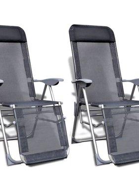 vidaXL Campingstoelen met voetensteun inklapbare aluminium set van 2