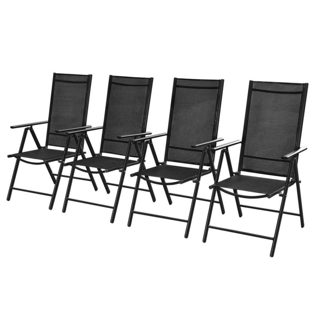Zwarte Aluminium Tuinstoelen.Vidaxl Tuinstoelen Inklapbaar 4 St Aluminium En Textileen Zwart