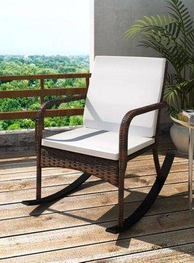vidaXL Schommelstoel voor in de tuin bruin poly rattan