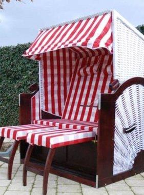 vidaXL Strandstoel Strandkorb XL rood witt