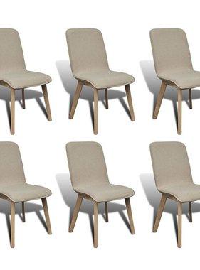 vidaXL Eetkamerstoelen met eikenhouten frame en stof beige 6 st