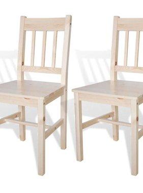 vidaXL Eetkamerstoelen hout natuurlijke houtkleur 2 st