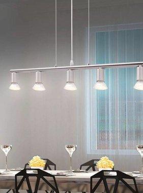 vidaXL Hanglamp met 5 LED spotlights satijn nikkel