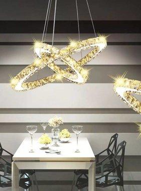 vidaXL LED-Hanglamp dubbele ring kristal 23,6 W