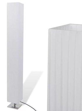vidaXL Vierkante Staande Lamp met RVS onderstel en PE Kap Wit