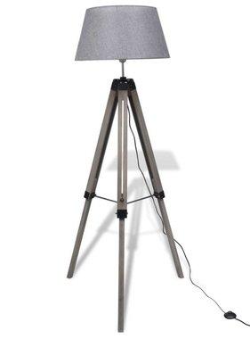 vidaXL Staande lamp met verstelbaar statief en stoffen kap hout grijs
