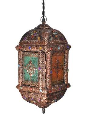 vidaXL Hanglamp met kristallen en glazen deurtjes (veelkleurig / metaal)