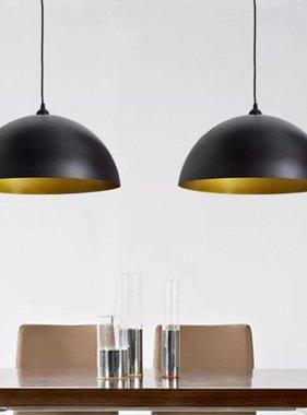 vidaXL Halfronde metalen hanglamp (zwart, set van twee)