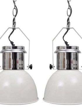 vidaXL Moderne metalen hanglamp (wit, set van twee)