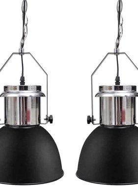 vidaXL Moderne zwart metalen hanglamp 2 st