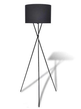 vidaXL Vloerlamp met lampenkap op statief zwart