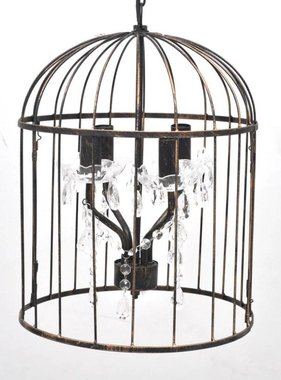 vidaXL Hanglamp Cage exclusief design zwart met koper