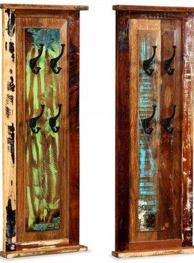 vidaXL Kapstok 38x100 cm massief gerecycled hout 2 st