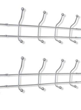 vidaXL Muurkapstok met 12 haken staal 2 st