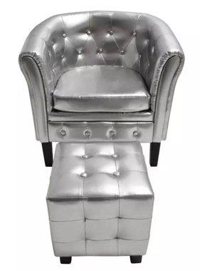 vidaXL Kuipstoel met hocker kunstleer zilver