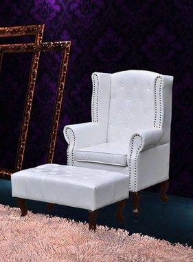 vidaXL Chesterfield fauteuil met hocker (wit)
