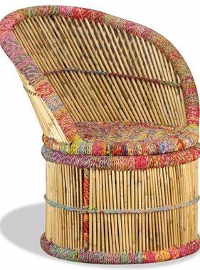 vidaXL Stoel met chindi details bamboe meerkleurig