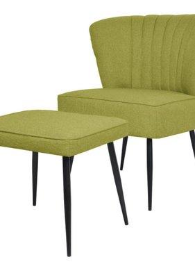 vidaXL Cocktail stoel met voetenbank stof groen
