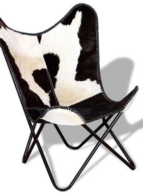 vidaXL Vlinderstoel zwart en wit echt rundleer