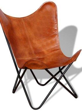 vidaXL Vlinderstoel bruin echt leer