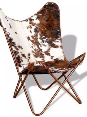 vidaXL Vlinderstoel echt koeienleer bruin en wit