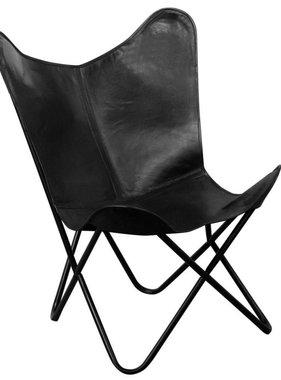 vidaXL Vlinderstoel zwart echt leer