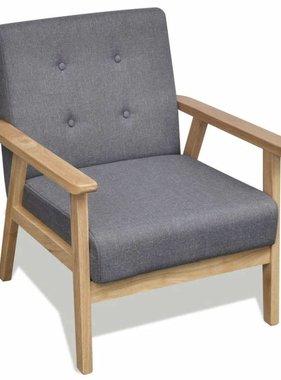 vidaXL Fauteuil retro met houten frame stof grijs