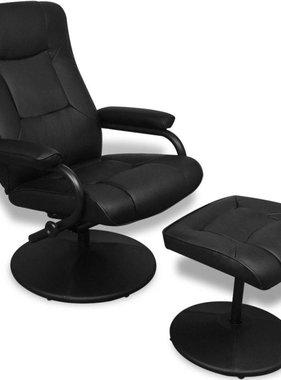 vidaXL Tv-fauteuil met voetenbankje kunstleer zwart