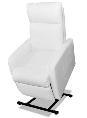 vidaXL Sta-op-stoel verstelbaar elektrisch kunstleer wit