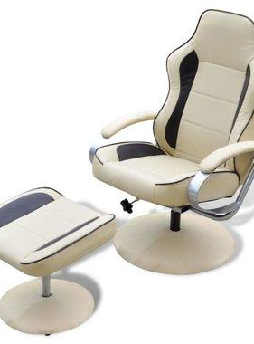 vidaXL Tv-fauteuil met voetensteun verstelbaar kunstleer crème/bruin