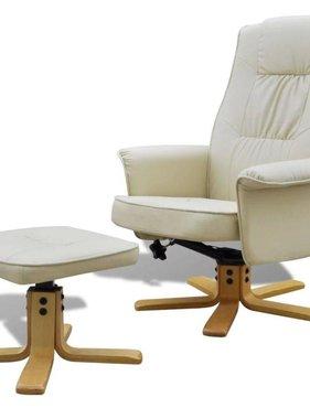 vidaXL Tv-fauteuil met voetensteun verstelbaar kunstleer crèmewit