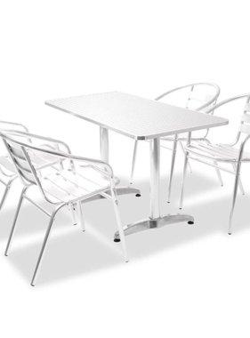 vidaXL Tuinset rechthoekige tafel en stapelstoelen aluminium 5-delig