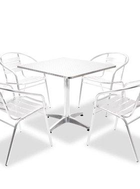 vidaXL Tuinset vierkante tafel en stapelbare stoelen aluminium 5-delig