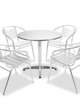 vidaXL Tuinset ronde tafel en stapelbare stoelen aluminium 5-delig