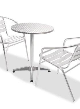 vidaXL Bistroset ronde tafel en stapelbare stoelen aluminium 3-delig