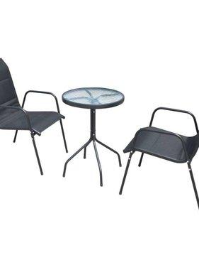 vidaXL Bistroset 50x71 cm staal textileen zwart