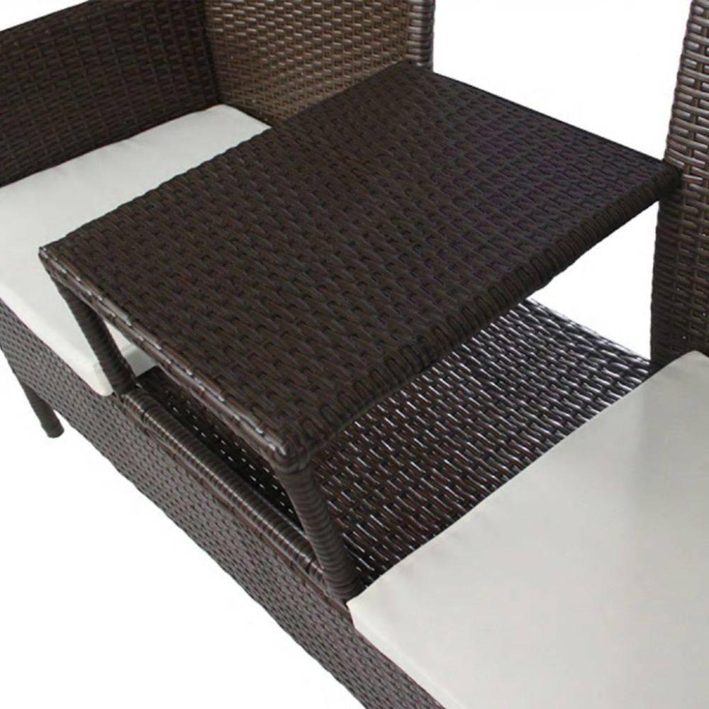 vidaXL 2-zitsbank met tafel poly rattan bruin
