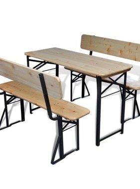 vidaXL Biertafel met 2 bankjes inklapbaar 118 cm vurenhout