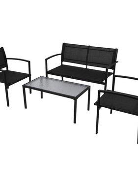 vidaXL Loungeset textileen zwart 4-delig