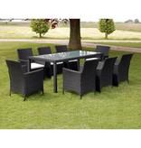 vidaXL 17-delige tuinmeubelset zwart poly rattan
