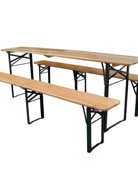 vidaXL Biertafel met 2 bankjes 220 cm inklapbaar