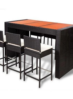 vidaXL Barset met houten tafelblad poly rattan zwart 13-delig